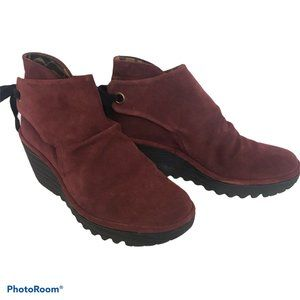 Fly London Yebi Wine Suede Tie Wedge Ankle Boots 8